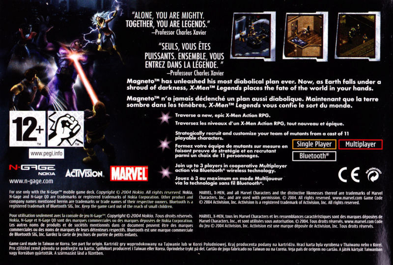 Back boxart of the game X-Men Legends (Europe) on Nokia N-Gage