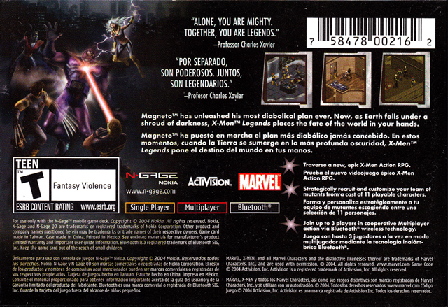 Back boxart of the game X-Men Legends (United States) on Nokia N-Gage