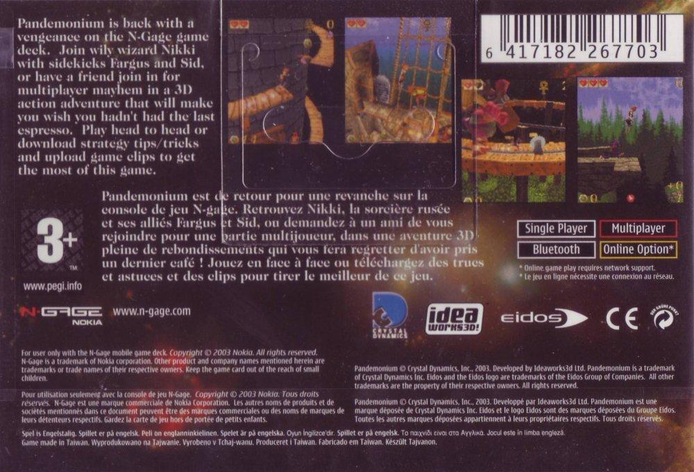 Back boxart of the game Pandemonium! (Europe) on Nokia N-Gage