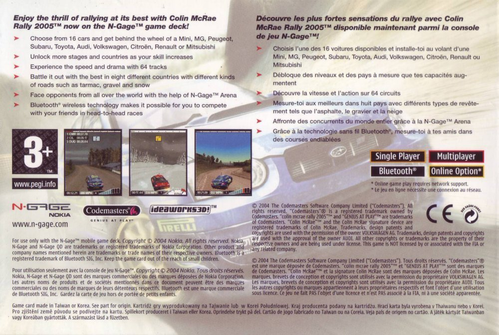 Back boxart of the game Colin McRae Rally 2005 (Europe) on Nokia N-Gage