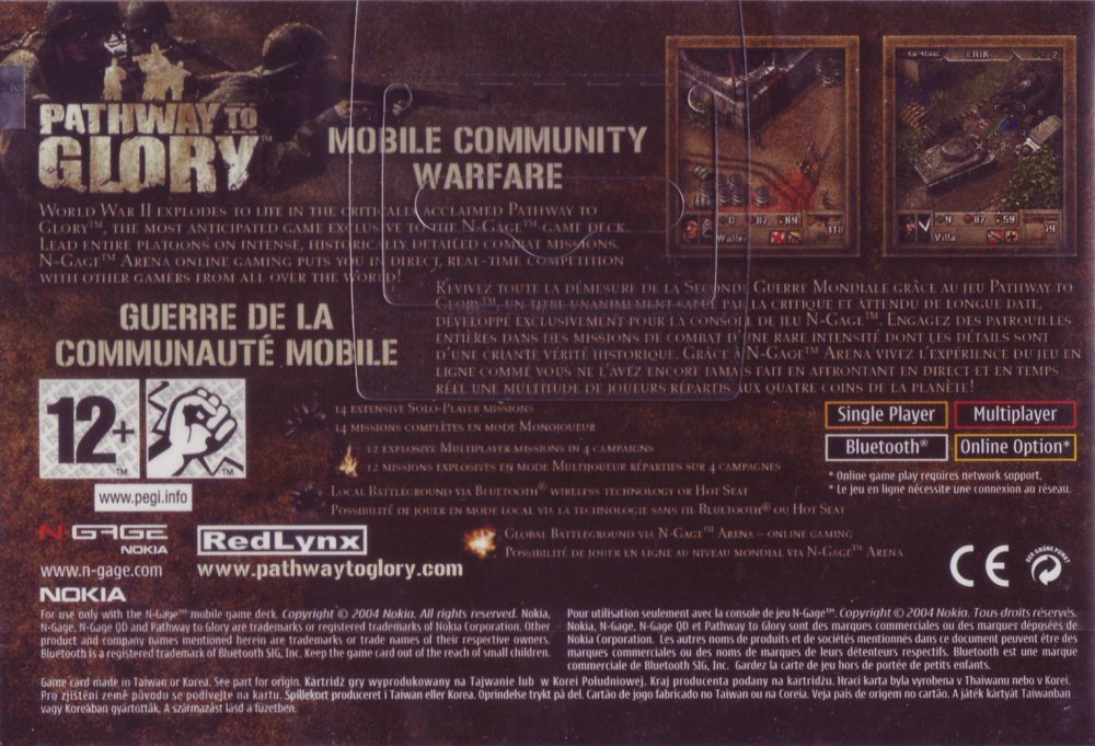 Back boxart of the game Pathway to Glory (Europe) on Nokia N-Gage