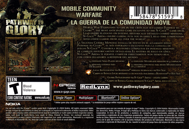 Back boxart of the game Pathway to Glory (United States) on Nokia N-Gage