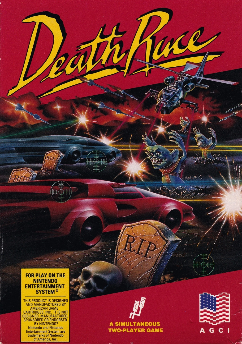 Front boxart of the game Death Race (United States) on Nintendo NES