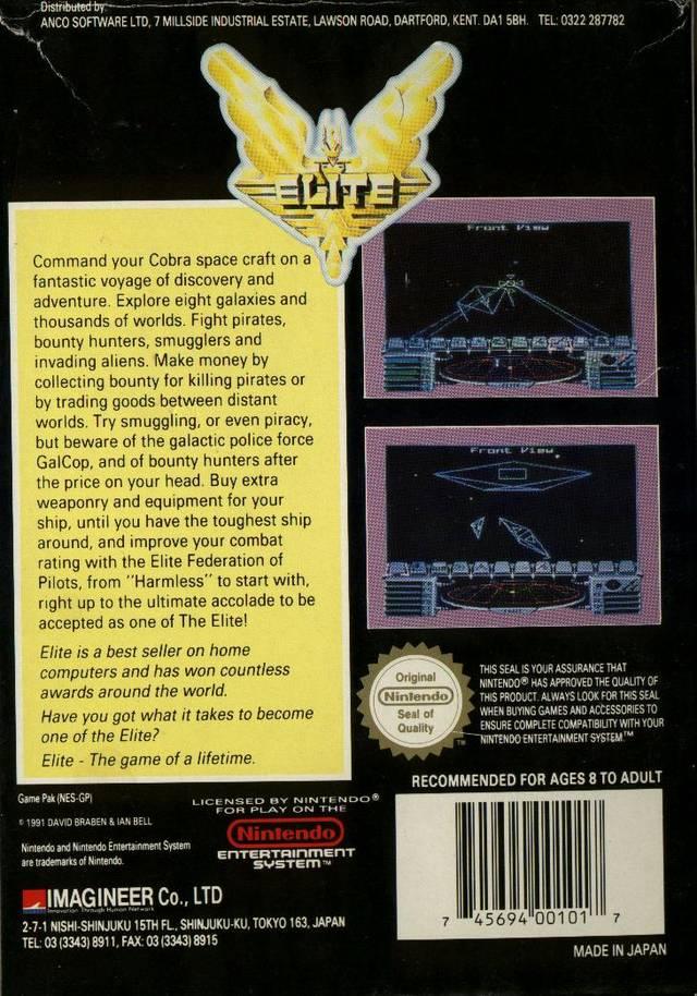 Back boxart of the game Elite (Europe) on Nintendo NES