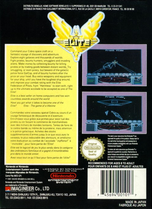 Back boxart of the game Elite (France) on Nintendo NES