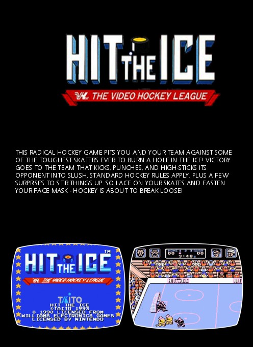 Back boxart of the game Hit the Ice on Nintendo NES