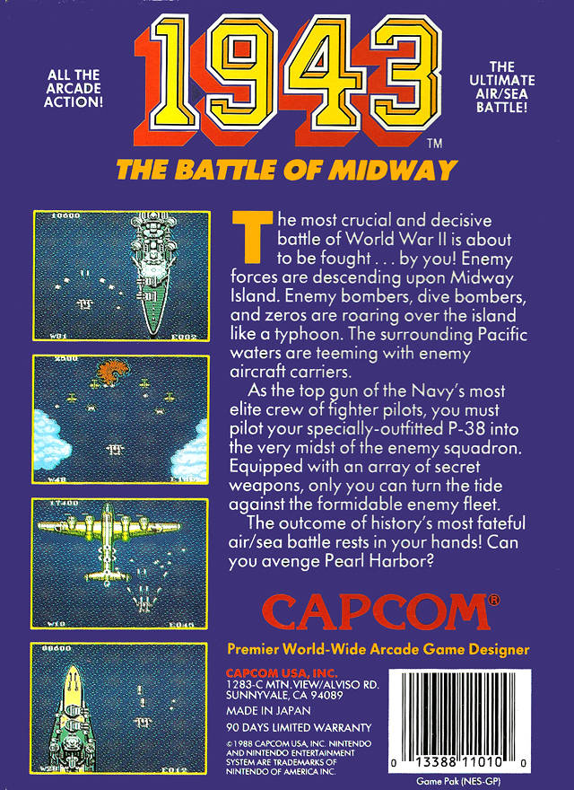 Back boxart of the game 1943 - The Battle of Midway (United States) on Nintendo NES