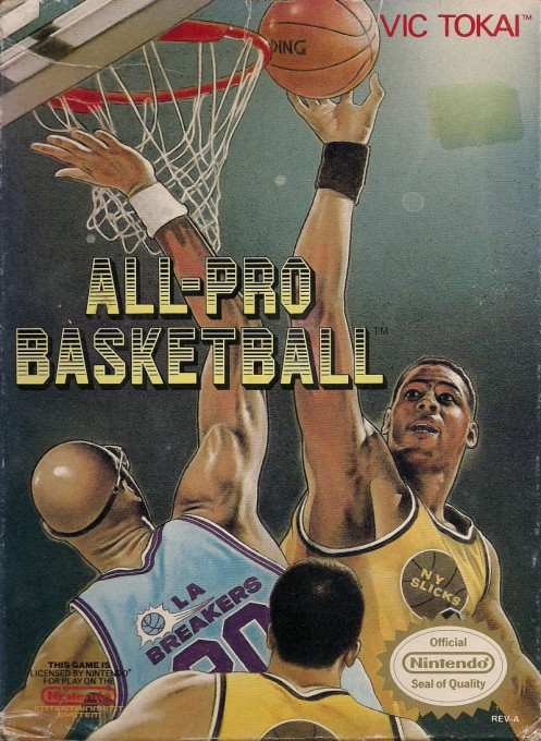 Front boxart of the game All-Pro Basketball on Nintendo NES