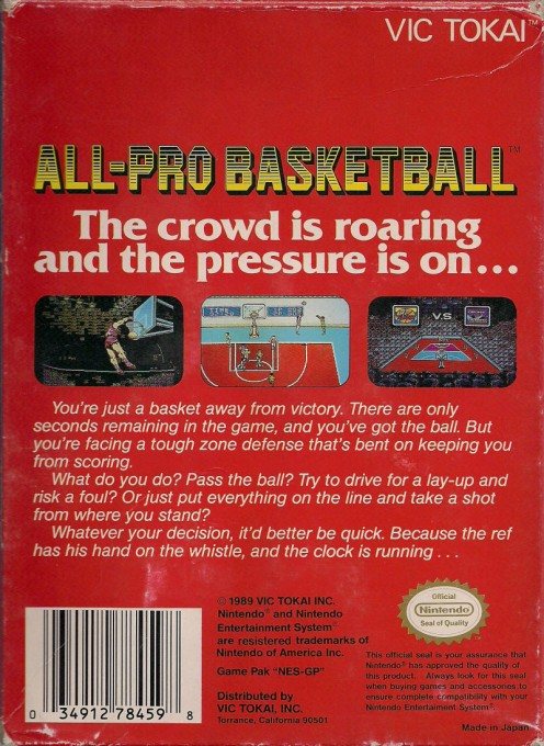 Back boxart of the game All-Pro Basketball on Nintendo NES