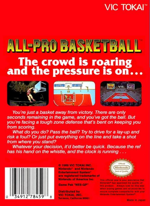 Back boxart of the game All-Pro Basketball (United States) on Nintendo NES
