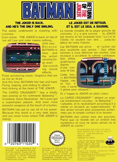 Back boxart of the game Batman - Return of the Joker (Europe) on Nintendo NES