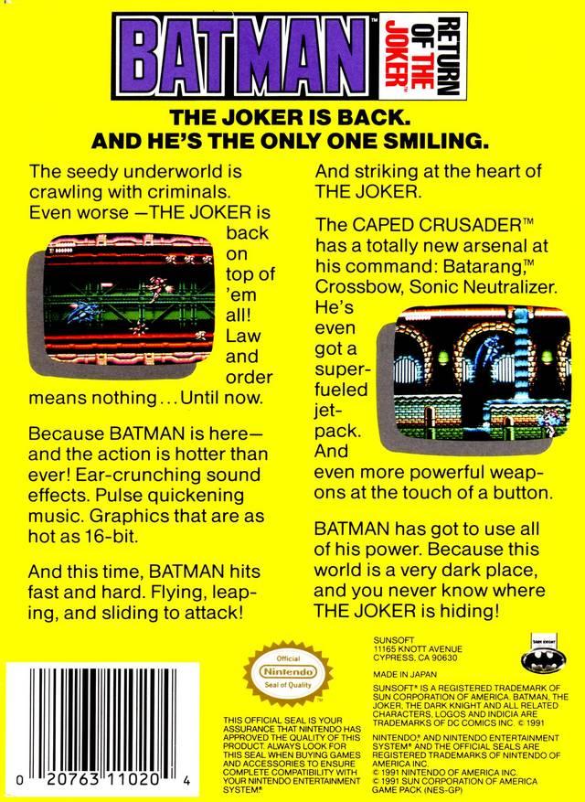 Back boxart of the game Batman - Return of the Joker (United States) on Nintendo NES