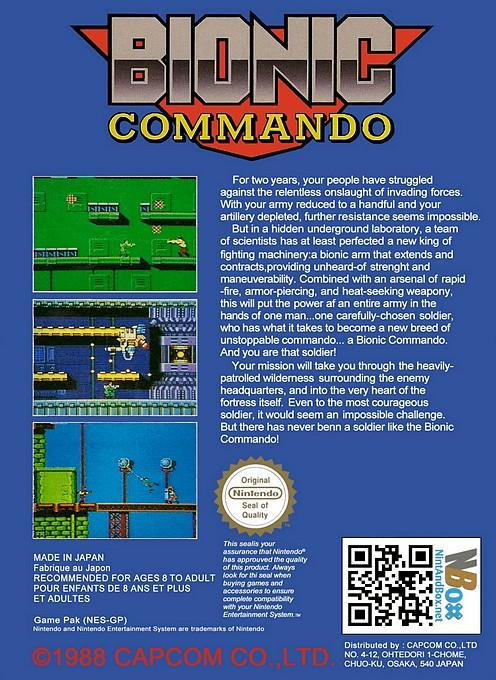 Back boxart of the game Bionic Commando (Europe) on Nintendo NES
