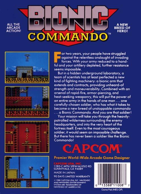 Back boxart of the game Bionic Commando (United States) on Nintendo NES