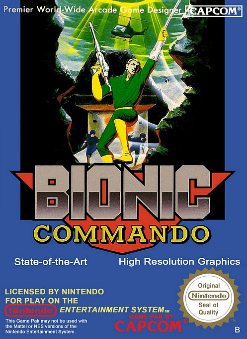 Front boxart of the game Bionic Commando (Europe) on Nintendo NES