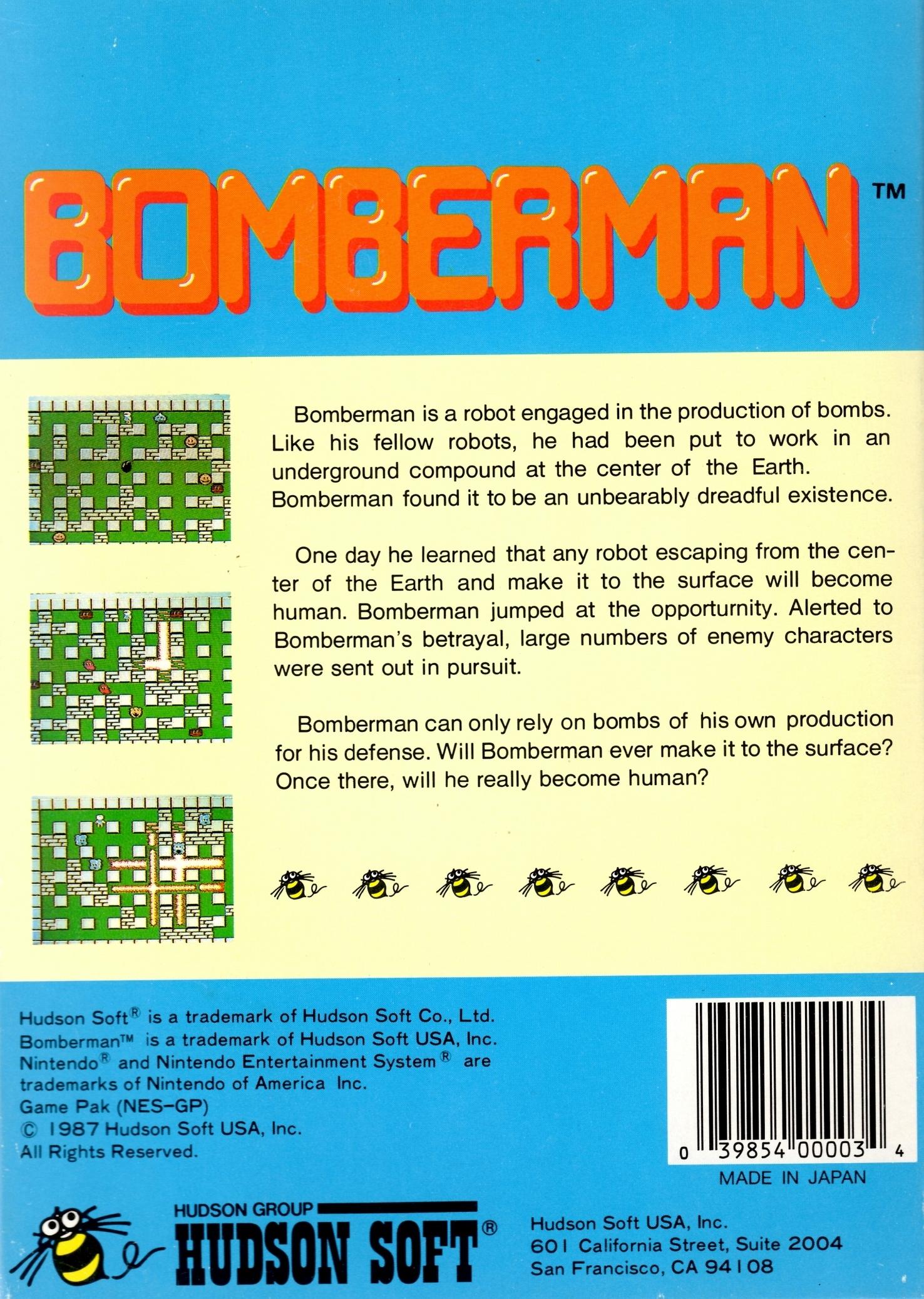 Back boxart of the game Bomberman (United States) on Nintendo NES