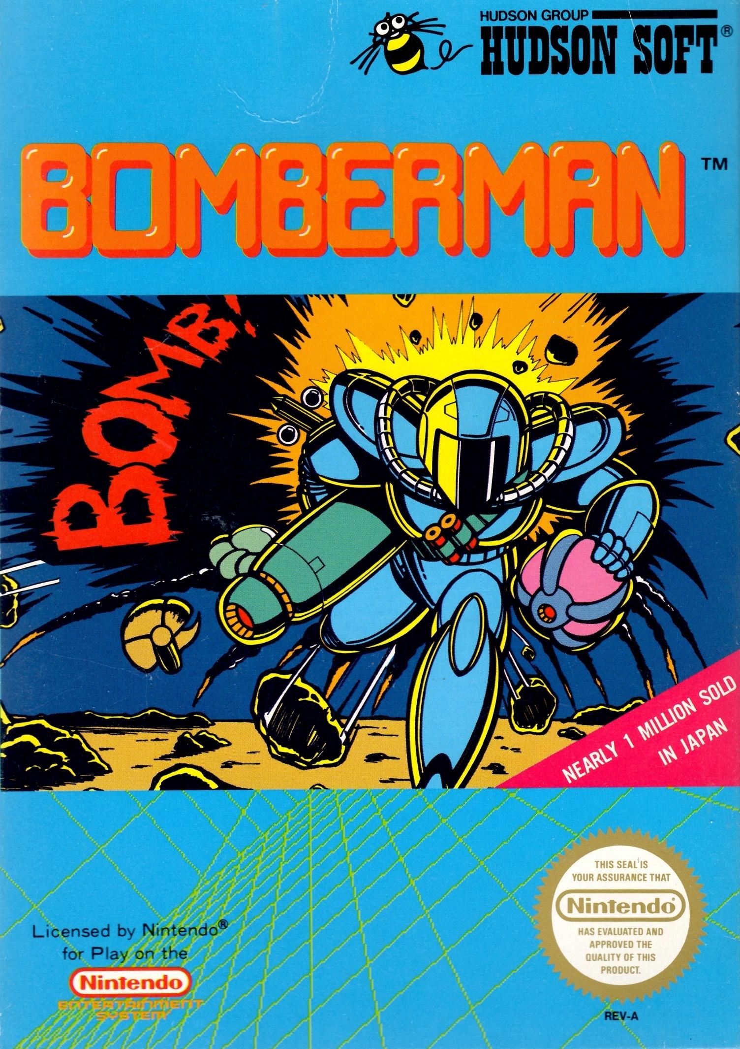 Front boxart of the game Bomberman (United States) on Nintendo NES
