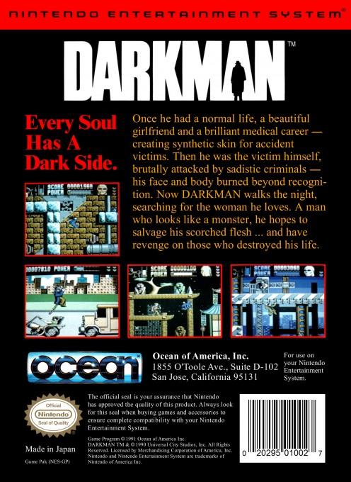 Back boxart of the game Darkman (United States) on Nintendo NES