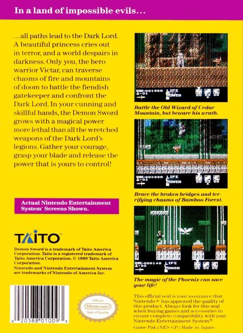 Back boxart of the game Demon Sword (United States) on Nintendo NES