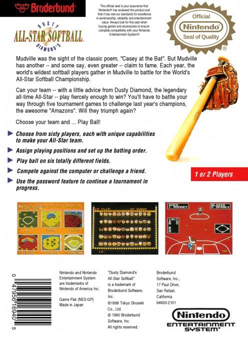 Back boxart of the game Dusty Diamond's All-Star Softball (United States) on Nintendo NES
