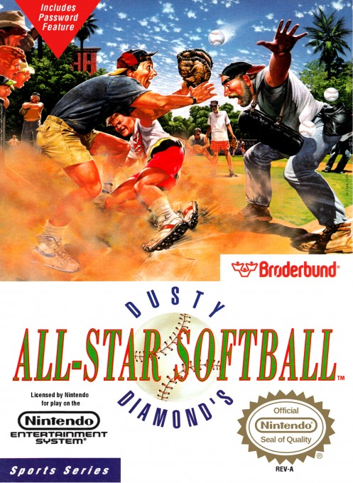 Front boxart of the game Dusty Diamond's All-Star Softball (United States) on Nintendo NES