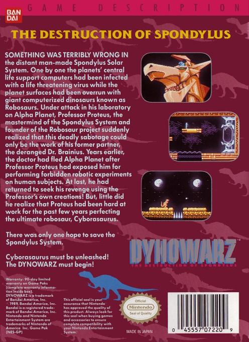 Back boxart of the game Dynowarz - The Destruction of Spondylus (United States) on Nintendo NES