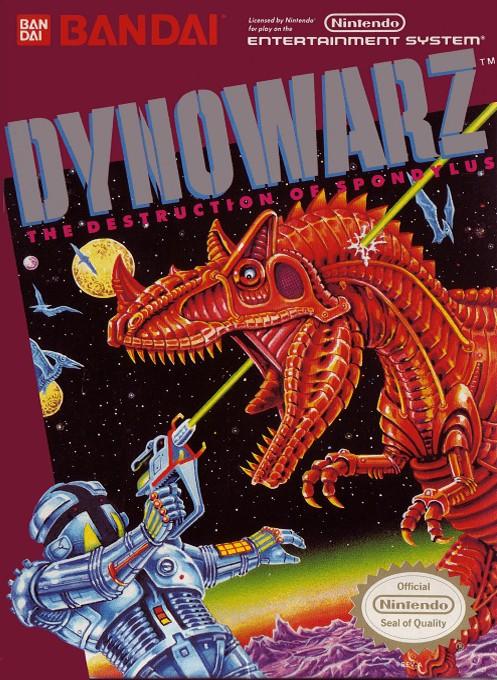 Front boxart of the game Dynowarz - The Destruction of Spondylus (United States) on Nintendo NES