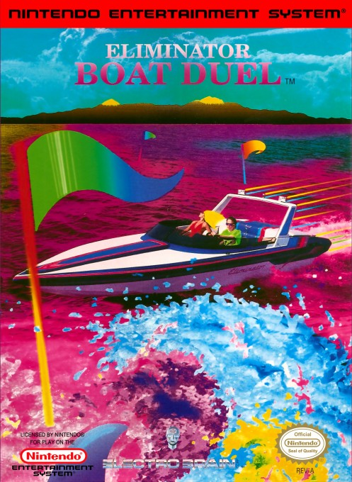 Front boxart of the game Eliminator Boat Duel (United States) on Nintendo NES