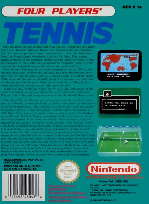 Back boxart of the game Top Players' Tennis - Featuring Chris Evert & Ivan Lendl (Europe) on Nintendo NES