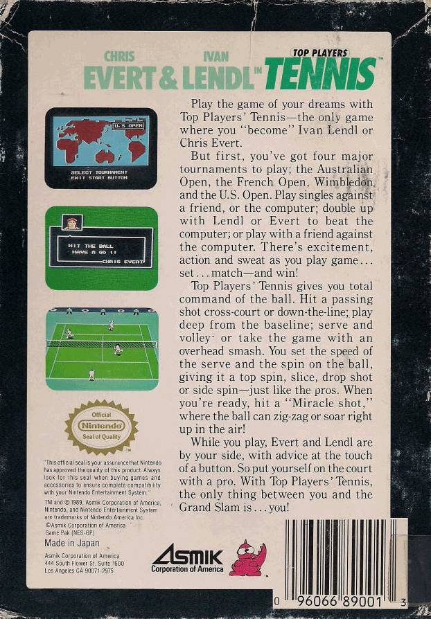 Back boxart of the game Top Players' Tennis - Featuring Chris Evert & Ivan Lendl (United States) on Nintendo NES
