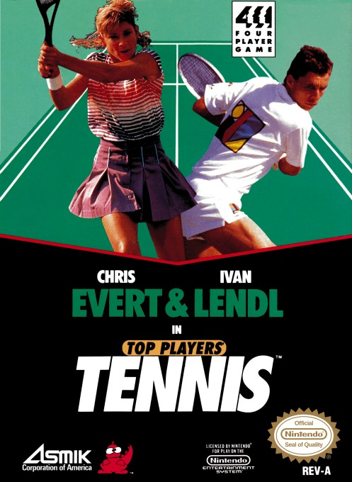 Front boxart of the game Top Players' Tennis - Featuring Chris Evert & Ivan Lendl (United States) on Nintendo NES