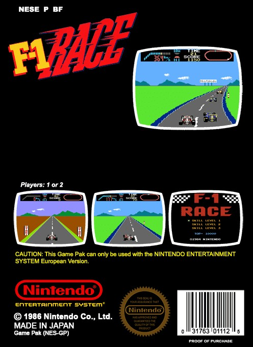 Back boxart of the game F-1 Race on Nintendo NES