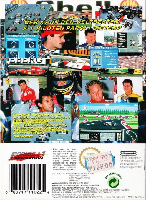 Back boxart of the game F-1 Sensation (Germany) on Nintendo NES