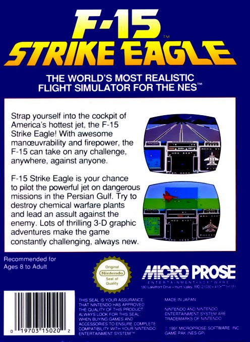 Back boxart of the game F-15 Strike Eagle (Europe) on Nintendo NES