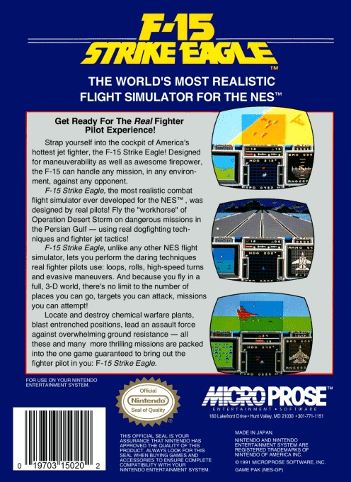 Back boxart of the game F-15 Strike Eagle (United States) on Nintendo NES