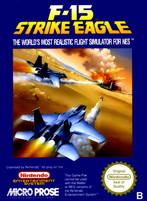 Front boxart of the game F-15 Strike Eagle (Europe) on Nintendo NES