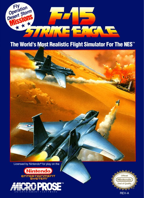Front boxart of the game F-15 Strike Eagle (United States) on Nintendo NES