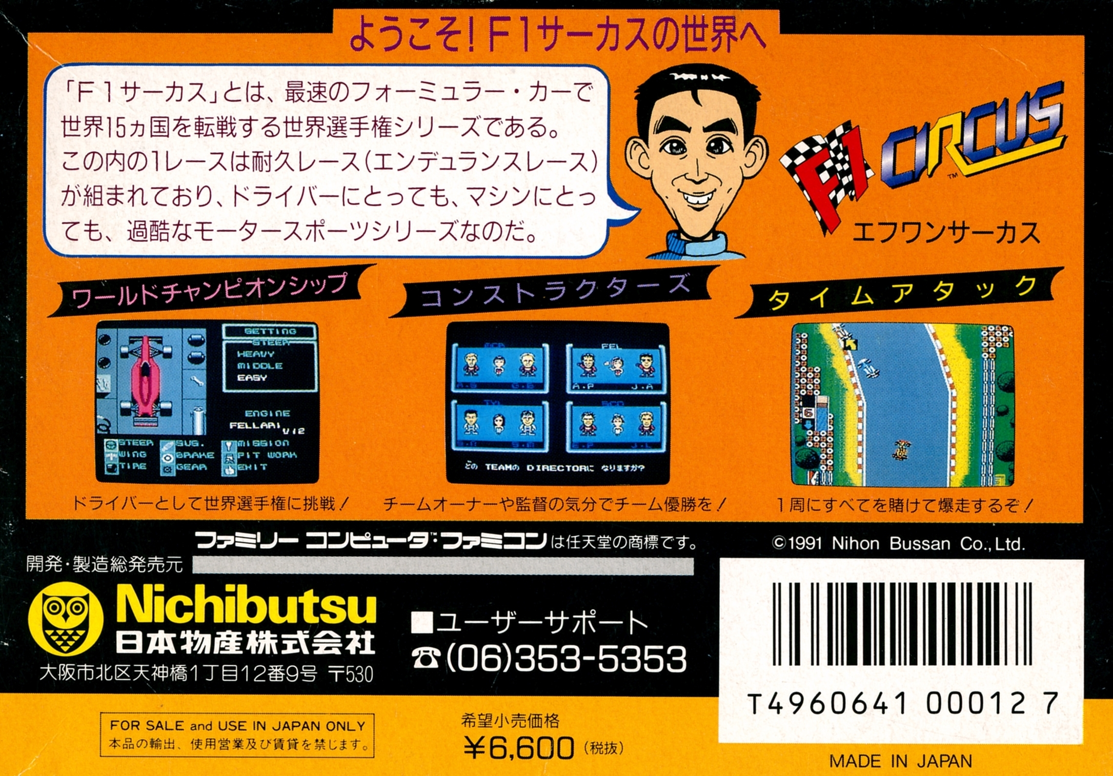 Back boxart of the game F1 Circus (Japan) on Nintendo NES