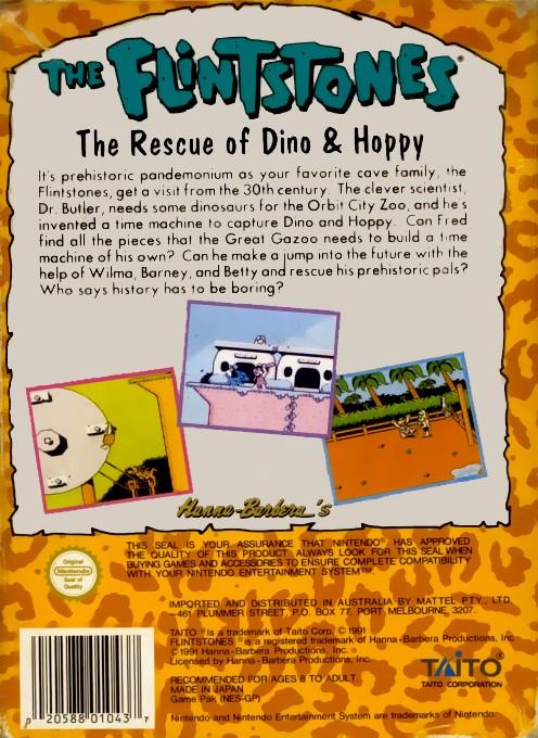 Back boxart of the game Flintstones, The - The Rescue of Dino & Hoppy (Europe) on Nintendo NES