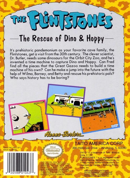 Back boxart of the game Flintstones, The - The Rescue of Dino & Hoppy (United States) on Nintendo NES