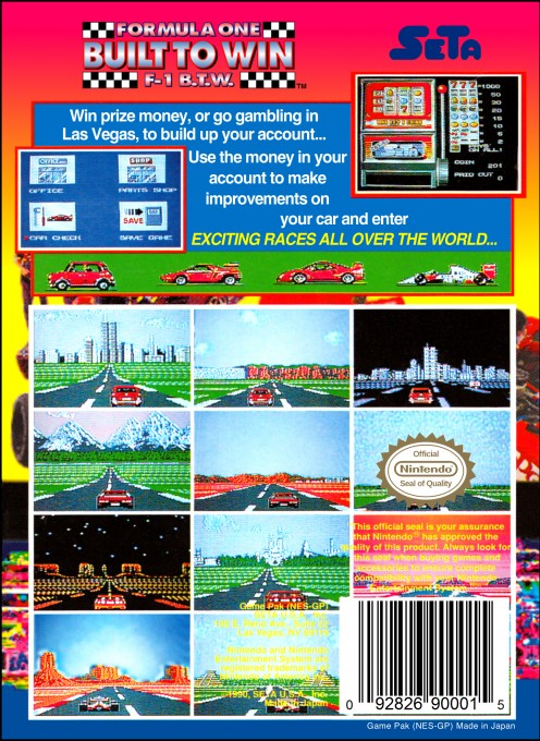 Back boxart of the game Formula One - Built To Win (United States) on Nintendo NES