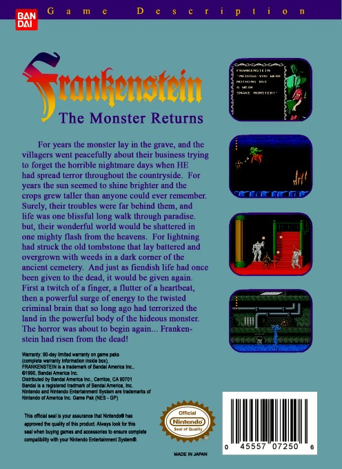 Back boxart of the game Frankenstein - The Monster Returns (United States) on Nintendo NES