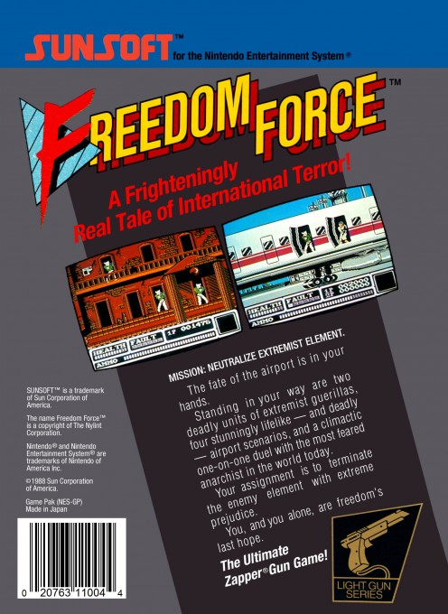 Back boxart of the game Freedom Force (United States) on Nintendo NES