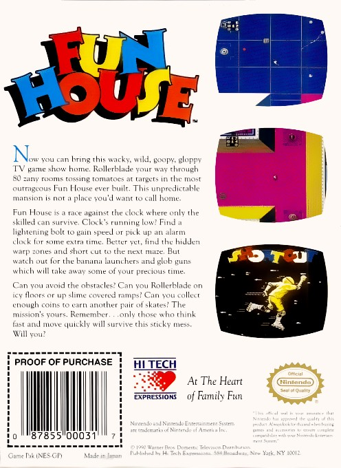 Back boxart of the game Fun House (United States) on Nintendo NES