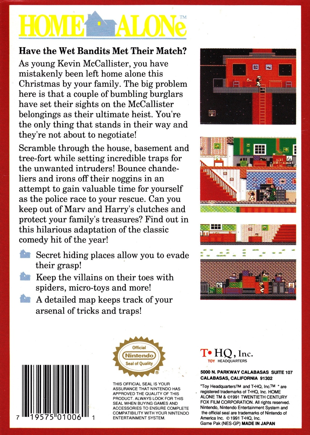 Back boxart of the game Home Alone (United States) on Nintendo NES