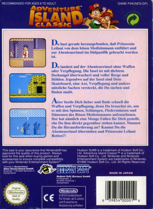 Back boxart of the game Adventure Island (Germany) on Nintendo NES