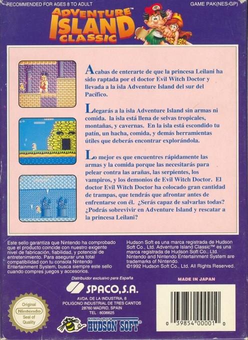 Back boxart of the game Adventure Island (Spain) on Nintendo NES