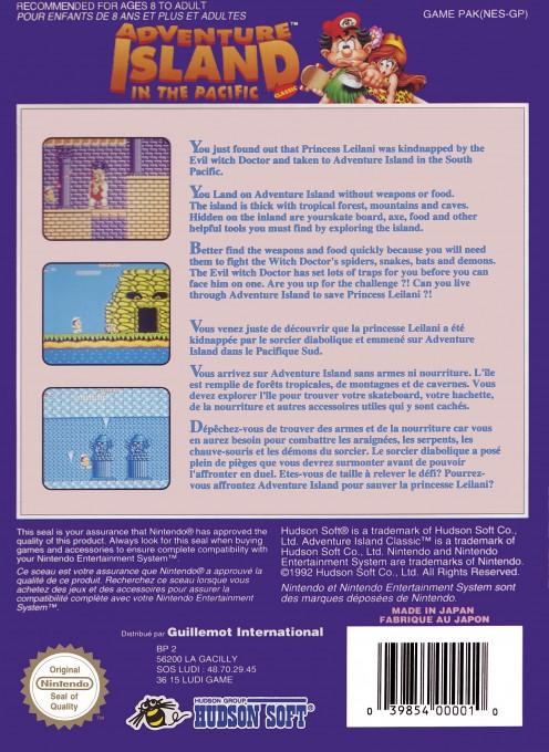 Back boxart of the game Adventure Island (Europe) on Nintendo NES