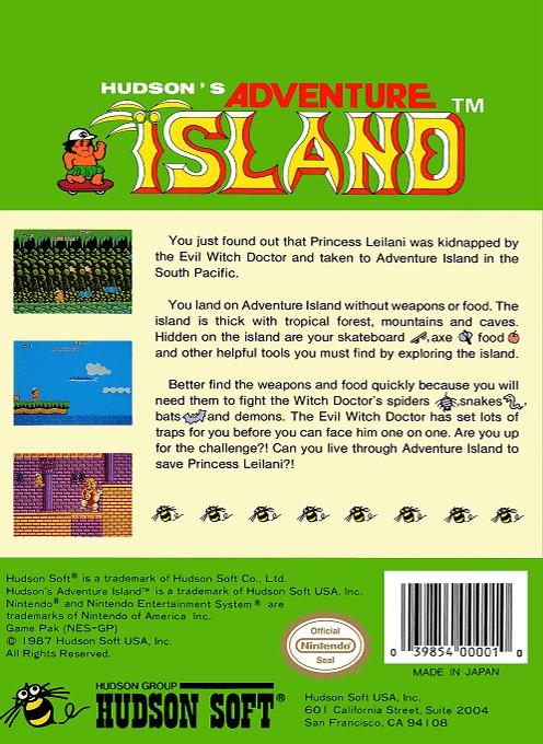 Back boxart of the game Adventure Island (United States) on Nintendo NES
