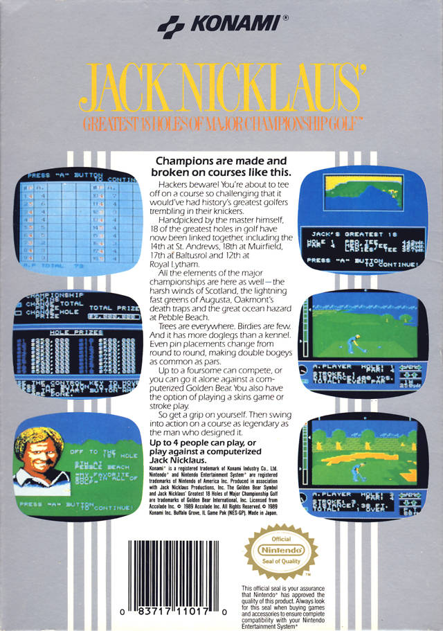 Back boxart of the game Jack Nicklaus' Greatest 18 Holes of Major Championship Golf (United States) on Nintendo NES